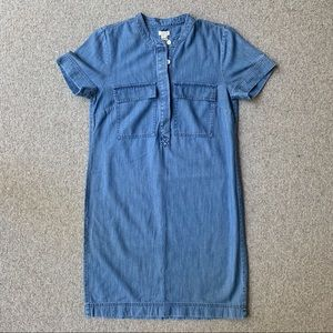 J Crew Factory chambray mandarin collar dress